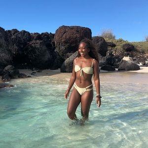Light green plaid bikini top